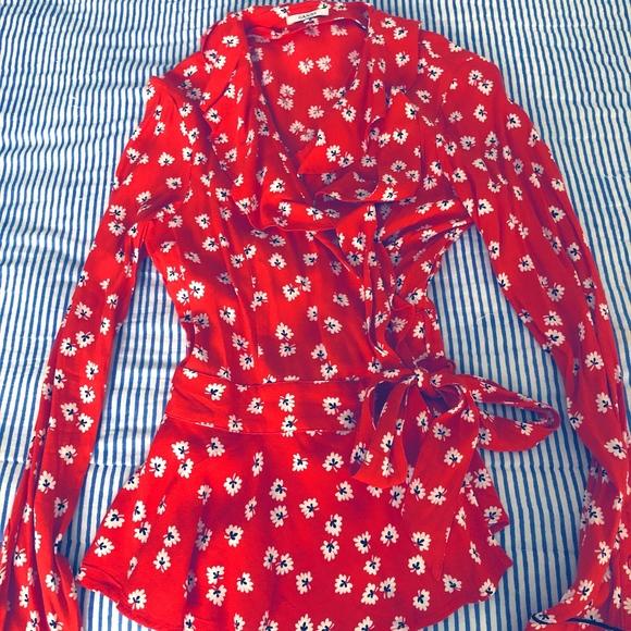 0860cda3204d9 Ganni Tops - Ganni Ruffled Floral Crepe de Chine Wrap Top